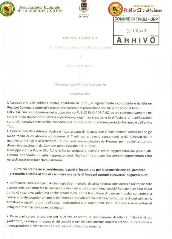 Intesa tra il Comune di Tivoli e l'Associazione Villa Adriana Nostra